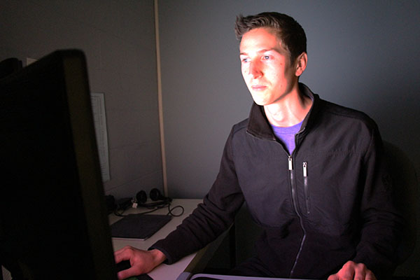 VHCC Student Illuminated by Computer Screen
