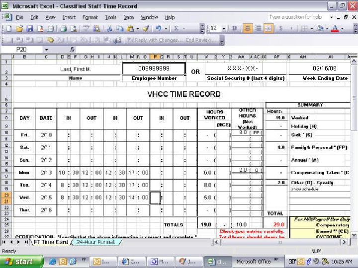 Classified Staff Time Record | Virginia Highlands Community College
