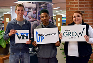 VHCC Students with signs Enrollment is up! Come grow with us!